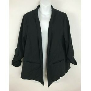 Torrid Solid Black 3/4 Ruched Sleeve Open Front 2